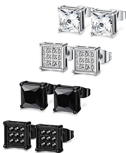 FIBO STEEL 4 Pairs Stainless Steel Stud Earrings for Men Women Ear Piercing CZ Inalid,7MM
