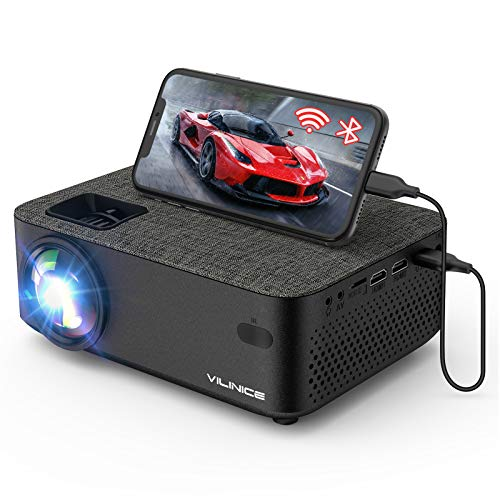 WiFi Projector,VILINICE 5000L Mini Bluetooth Movie Projector ,Portable Phone Projector with Wireless Mirroring,1080P and 240' Supported, Compatible with Fire Stick,HDMI,VGA,USB,TV,Box,Laptop,DVD