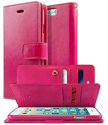 GOOSPERY Mansoor Wallet for Apple iPhone 8 Plus Case (2017) iPhone 7 Plus Case (2016) Double Sided Card Holder Flip Cover (Hot Pink) IP7P-MAN-HPNK