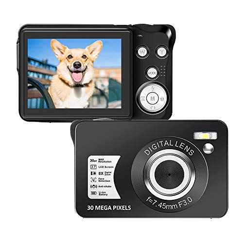 Digital Camera 2.7 Inch LCD Rechargeable HD Digital Camera Compact Camera Pocket Digital Cameras 30 Mega Pixels with 8X Zoom for Adult Seniors Students Kids