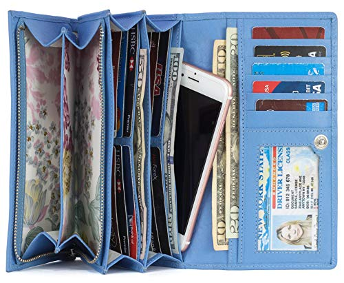 Mou Meraki Women RFID Blocking Real Leather Bifold Wallets For Women-Shield Against Identity Theft(LIGHT BLUE)