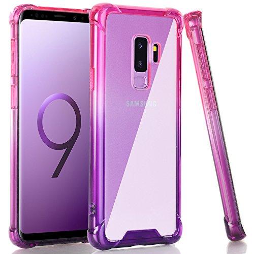 BAISRKE Galaxy S9 Plus Case, Shock Absorption Flexible TPU Soft Edge Bumper Anti-Scratch Rigid Slim Protective Cases Hard Plastic Back Cover for Samsung Galaxy S9+ Plus - Pink Purple Gradient