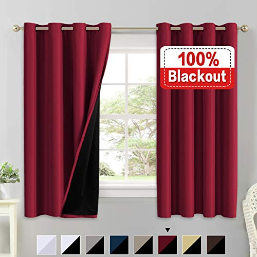 Double Layer 100% Blackout Curtains for Bedroom 63 Inches Long Thermal Insulated Lined Curtains for Living Room | Full Light Blocking Energy Saving Grommet Drapes Draperies, 2 Panels, Cardinal Red