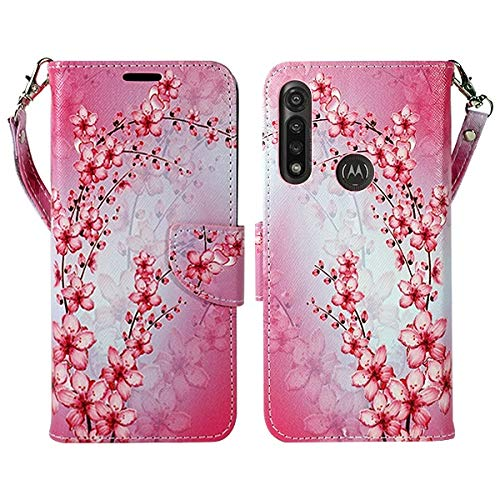 Zase Motorola Moto G Power (2020) Wallet Phone Case Women Design Pouch Folio PU Leather Flip Cute Cover w/Kickstand ID Holder Card Slot Wrist Strap for Verizon Moto G Power (Pink Cherry Blossom)