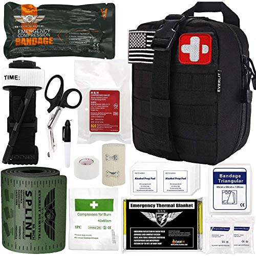 EVERLIT Emergency Trauma Kit GEN-I with Aluminum Tourniquet 36' Splint, Military Combat Tactical IFAK for First Aid Response, Critical Wounds, Gun Shots, Severe Bleeding Control (GEN-1 Black)