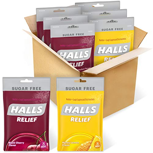 HALLS Relief Variety Pack Honey Lemon and Black Cherry Sugar Free Cough Drops, 6 Packs of 25 Drops (150 Total Drops)