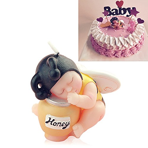 FLYPARTY Children's Birthday Candles with Greeting Card,Handmade Adorable Sleeping Baby Birthday Baby Shower Cake Topper Candle, Wedding Festival Party Favors Decorations (Bee Boy)