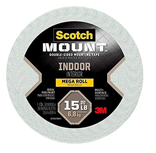 Scotch Indoor Double sided Mounting Tape, 0.75-inch x 350-inches, White, Holds up to 15 pounds, 1-Roll (110-LongDC)
