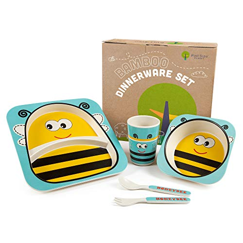 Bamboo Kids Plates and Bowls Sets | BPA Free & Eco Friendly | 5 Pcs Includes Toddler Plates Set | Cute Kids Plates | Kids Dinnerware Sets | Dishwasher Safe (Yellow Bee)