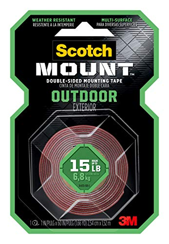 Scotch Outdoor Mounting Tape, 1-inch x 60-inches, Holds up to 15 pounds, Gray, 1-Roll (411P)