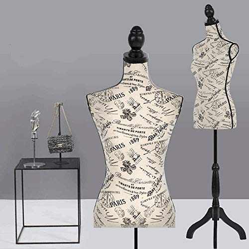 Pinnable Mannequin Torso Female Monogram Style Dress Form with Stand for Display Dressmakers Mannequin Adjustable Manikin Body Tripod Stand, 60-67 Inch 1 Pack