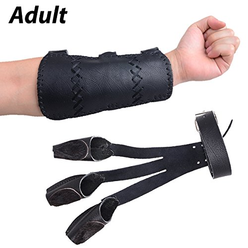 XTACER Leather Finger Protector & Leather Arm Guard 3-Strap Arm Guard with Three Fingers Design Archery Finger Protector Traditional Shooting Glove Black - Leather (Adult Size, Eagle Claw)