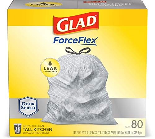 Glad ForceFlex Grey Tall Kitchen Drawstring Trash Bag, Unscented, 13 Gal, 80 Ct (Package May Vary), Trv236004 (79009)