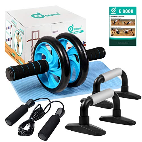 Odoland 4-in-1 AB Wheel Roller Kit AB Roller Pro with Push-Up Bar, Jump Rope and Knee Pad - Perfect Abdominal Core Carver Fitness Workout for Abs - Home Gym Workout