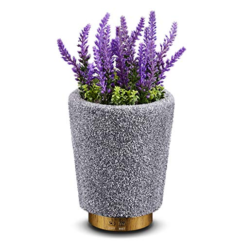 Essential Oil Diffuser Humidifier 200ml Artificial Lavender Potted Aromatherapy Diffuser Humidifier with Adjustable Mist Mode and Auto Shut-Off Function with 7 Color Lights