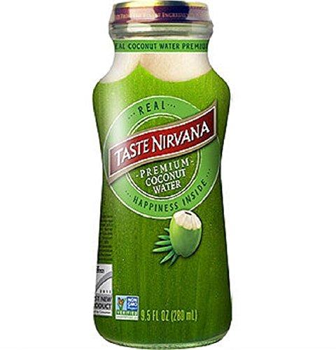 Taste Nirvana Real Coconut Water, Premium Coconut Water, 9.5 Ounce Glass Bottles (Pack of 12)