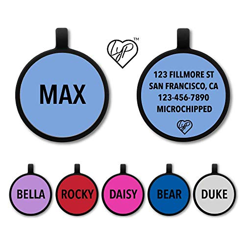 Love Your Pets Soundless Pet Tag - Deep Engraved Silicone – Double Sided and Engraving Will Last - Includes Shipping with Tracking- Pet ID Tags, Dog Tags, Cat Tags (MId Blue, Circle)