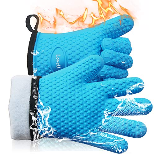 Loveuing Kitchen Oven Gloves - Silicone and Cotton Double-Layer Heat Resistant Oven Mitts/BBQ Gloves/Grill Gloves - Perfect for Baking and Grilling