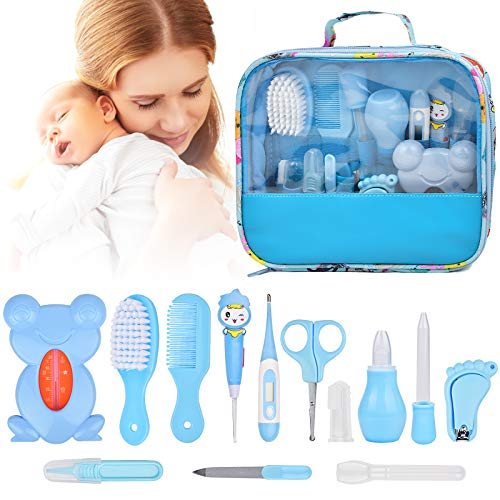 Baby Healthcare & Grooming Kit 13 in 1, Baby Grooming 14 Kits, Baby Safety Care Set for Nursery Newborn Boy Girls, Baby Care Stuff Gifts with Nail Clippers Trimmer Comb Brush Dispenser Nasal Aspirator