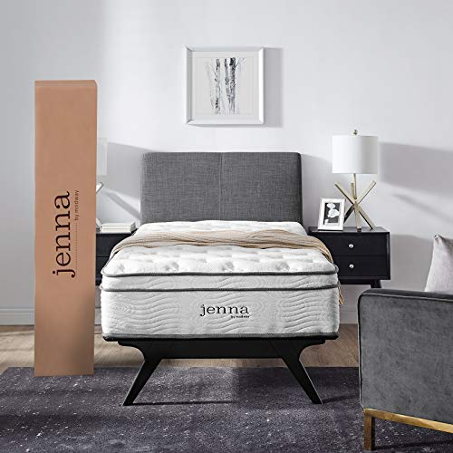 """Modway Jenna 10"""" Twin Innerspring Mattress Quality Quilted Pillow Top-Individually Encased Pocket Coils-10-Year Warranty, Twin, White"""