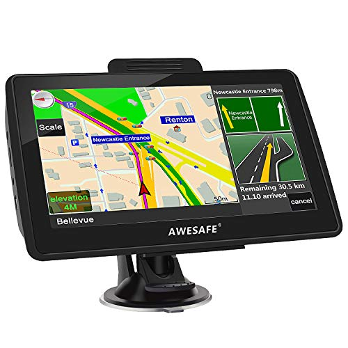 AWESAFE GPS Navigation for Car 7 inches Touch Screen Car Navigation GPS North America Lifetime Map Updates