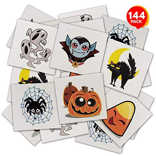 ArtCreativity Halloween Temporary Tattoos for Kids - Pack of 144-2 Inch Non-Toxic Tats Stickers for Boys and Girls, Best for Halloween Party Favors, Treats, Décor, Goodie Bags - 6 Assorted Designs