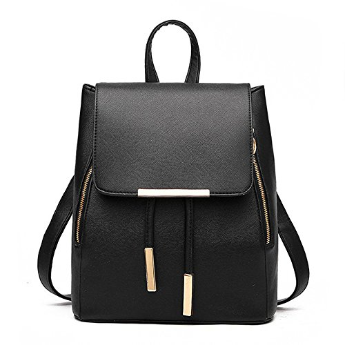 Backpack for Women PU Leather Small Backpack Purse for Fashion Backpacks(black)