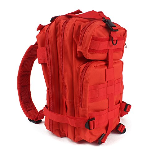 MediTac Tactical Assault Pack - First Aid Rucksack - 18' Military MOLLE Backpack (Red)