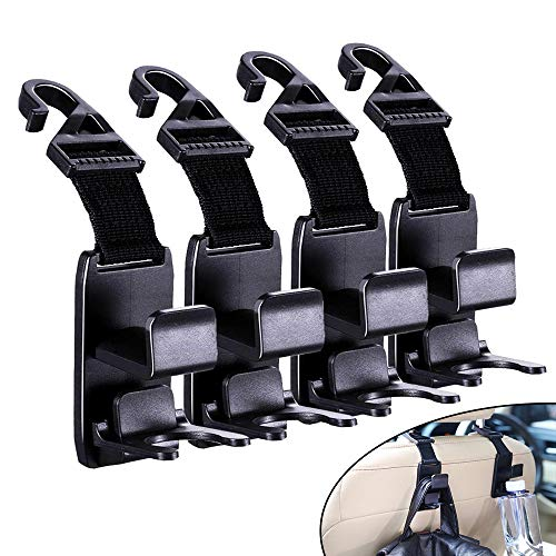 Car Seat Hook - Car Hanger Holder Organizer - Handy for Purse, Backpack , Coat, Handbag & Shopping Bags (4 Pack)
