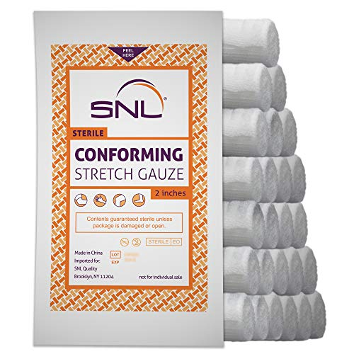 SNL Quality Sterile 2 inch x 4.1 Yard, Conforming, Latex Free, Stretch Bandage Gauze Roll - Pack of 24
