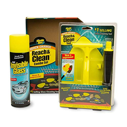 Invisible Glass 99031 Reach and Clean Tool Combo Kit with Windshield Wand Cleaning Tool for Those Hard-to-Reach Places and Invisible Glass Premium Glass and Window Cleaner for Auto and Home , Yellow