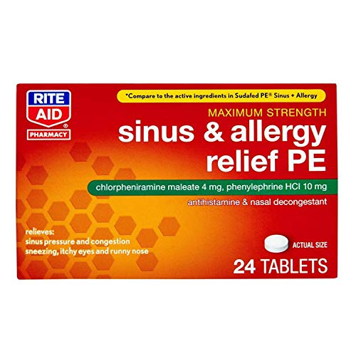 Rite Aid Sinus & Allergy Relief PE Tablets, Maximum Strength- 24 Count   Antihistamine and Nasal Decongestant   4 Hour Allergy Medication   Allergy and Congestion Relief Tablets   Nasal Allergy Relief