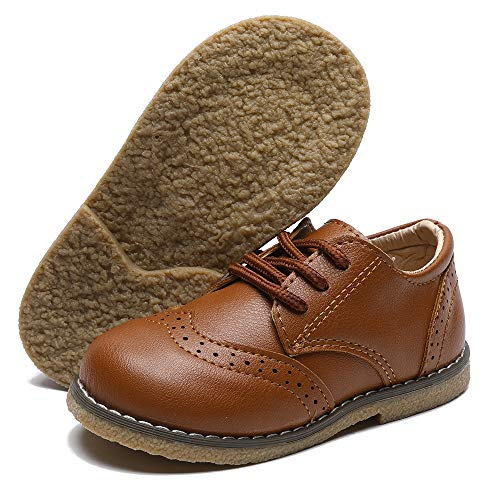 TIMATEGO Toddler Boys Girls Oxford Shoes PU Leather Lace Up School Loafer Flats Baby Infant Uniform Dress Shoes(Toddler/Little Kid) 10 Toddler, 01 Brown Toddler Dress Shoes