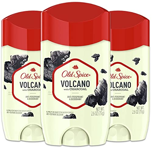 Old Spice Antiperspirant & Deodorant for Men, Invisible Solid, Volcano With Charcoal Scent, Inspired by Natural Elements, 2.6 Oz (Pack Of 3)