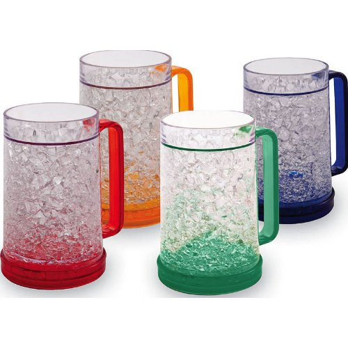 Double Wall Gel Freezer Mug - Set of 4 - Red, Orange, Blue, Green