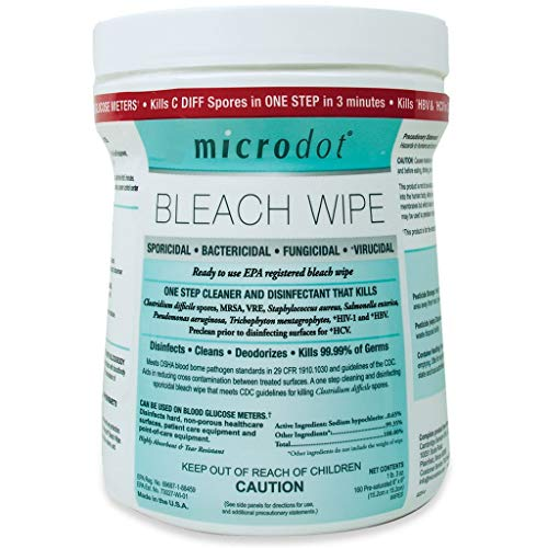 microdot Microdot Disinfecting Bleach Wipe, 160 6x6 Pre Saturated Wipes Per Canister