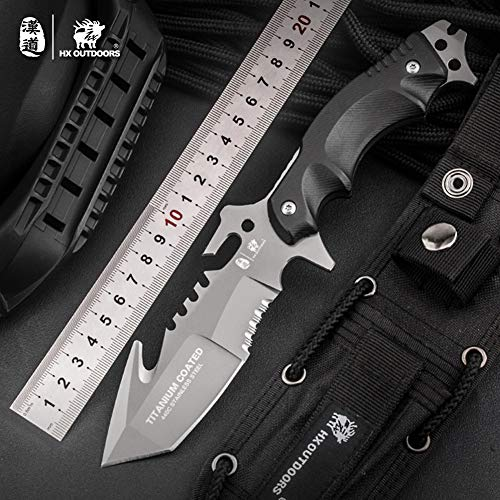 HX OUTDOORS - Fixed Blade Tactical Knives with Sheath,Tanto Blade Outdoor Survival Knife,Special Forces Tactical Knife,Ergonomics G10 Anti-skidding Handle (Marauder)