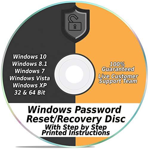 Windows Password Reset Recovery Disk Windows 10, 8.1, 7, Vista, XP #1 Best Unlocker Remove Software CD DVD (For All PC Computers)