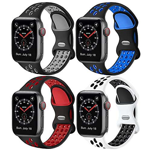 Elaikement4pack Sport Band Compatible for i Watch Bands 42mm 44mm Women Men, Breathable Sporty Replacement Wrist Strap Compatible for iWatch Series 6/5/4/3/2/1/SE All Various Styles, 42mm44mm M/L