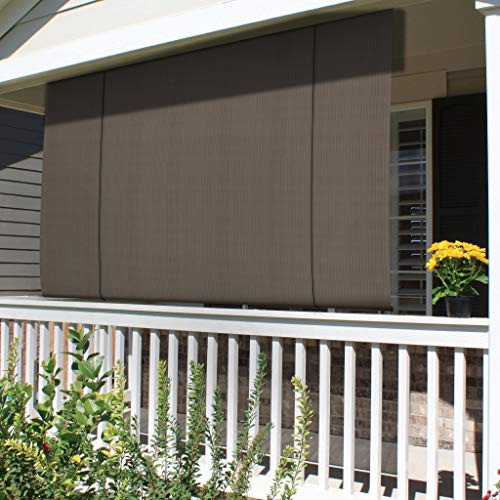 Patio Paradise Roll up Shades Roller Shade 8'Wx6'H Outdoor Shade Blind Pull Shade Privacy Screen Porch Deck Balcony Pergola Trellis Carport Brown