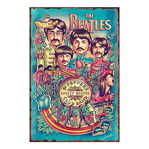 Not Applicable Posters of Rock Bands - The Beatles Poster Tin Signs Vintage Wall Decor for Cafe Bar Pub Decor 8x12 Inch Metal tin Sign, Iron Paint, Aluminum Sign