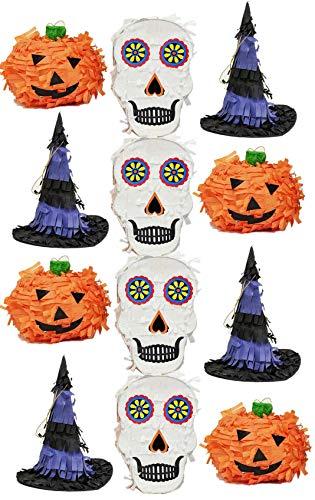 Halloween Mini Pinatas Party Favor Sugar Skull, Witch Hat, Pumpkin - Assorted 12 pack