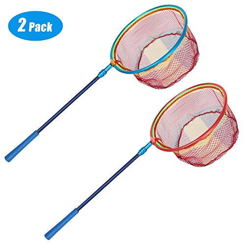 Kids Fishing Nets for Lake Pond - Butterfly Nets Extended from 32.3' to 47.6' with Carbon Fibers Telescopic Pole, Non-Slip Rubber Handle, Aluminum Alloy Ring and Latex Filiform Landing Net (2 Pack)