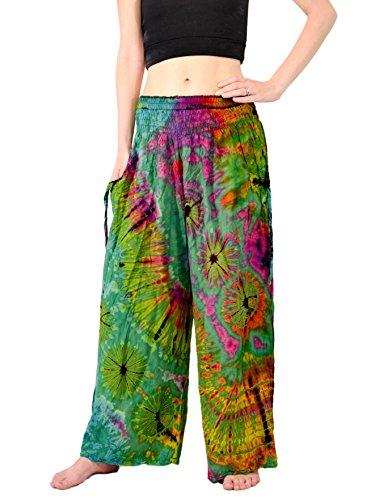 Orient Trail Women's Bohemian Yoga Tie-dye Wide Leg Palazzo Pants XL Eagle Green