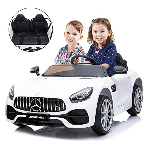Kuntai Electric Cars for Kids, Mercedes Benz Car for Kids, 2 Seater Battery Powered Cars for Kids White