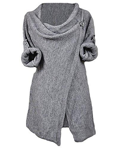 CUPSHE Women's Asymmetric Hem Split Wrap Sweater Poncho Coat, L Grey