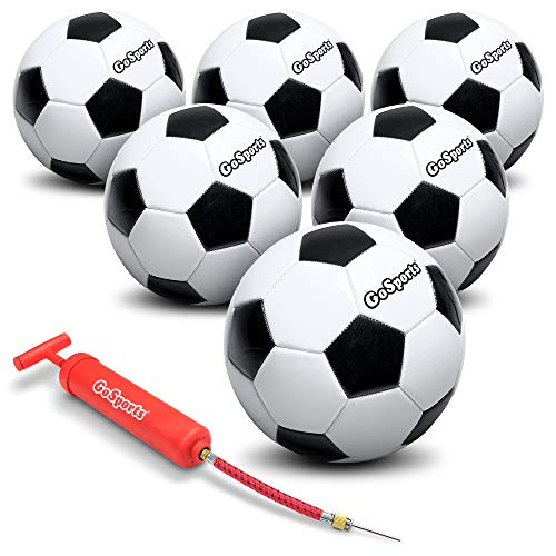GoSports Size Soccer Ball 6 Pack Classic Soccerball 6 Pack - Size - with Premium Pump and Carrying Bag, Black/White, 5