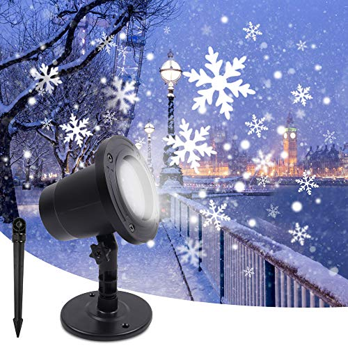 Christmas Projector Lights LED Landscape Projection Moving Snowfall Lights AOFAN Christmas Snowflake Rotating Projectors Lights Indoor & Outdoor Spotlights Decor Stage Irradiation & Garden Tree Wall
