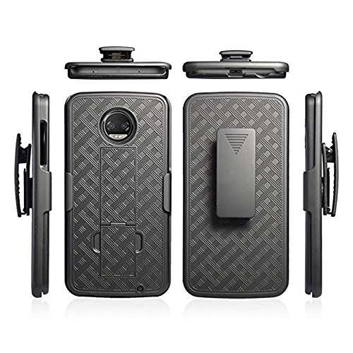 Motorola Moto Z2 Force Case, Belt Clip Holster Cover Shell Kickstand Criss Cross Black New Plaid Design for Motorola Moto Z2 Force