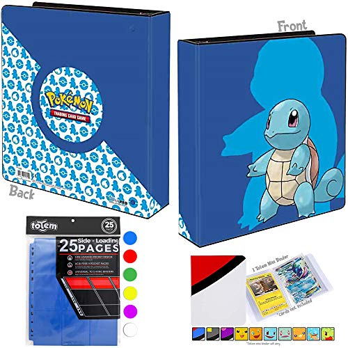 Totem World Squirtle 2' 3-Ring Collectors Binder Album with 25 9-Pocket Pages and 1 Mini Album - Perfect for Holding up to 450+ Pokemon Cards